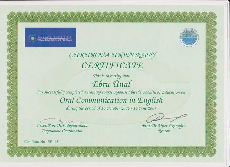 Cukurova University Oral Communication in English